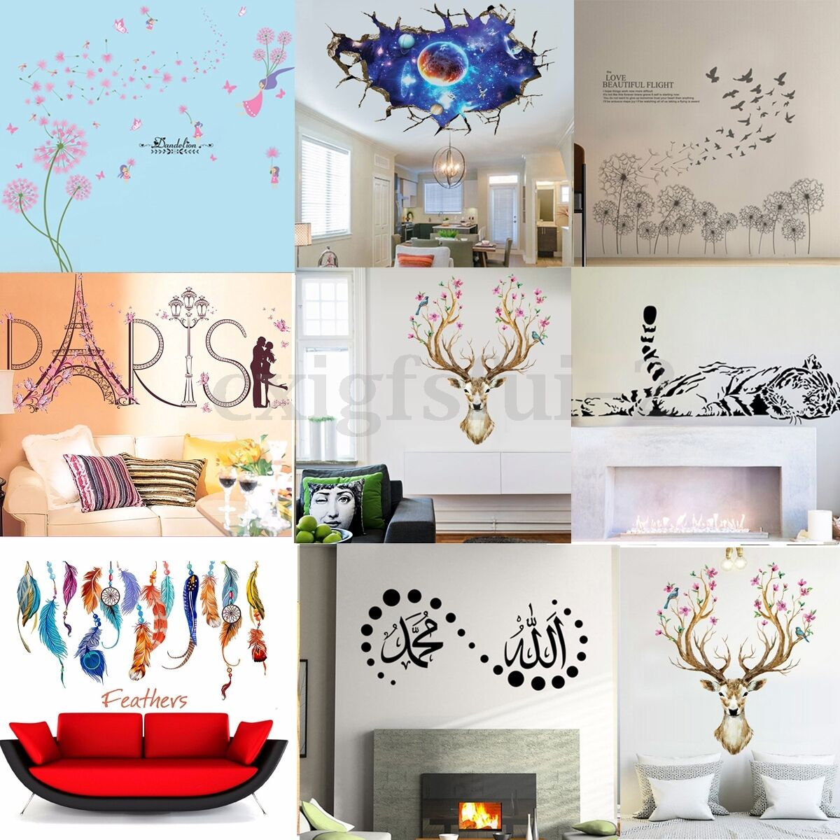 Diy removable vinyl wall sticker boys girls decals mural for Diy wall photo mural