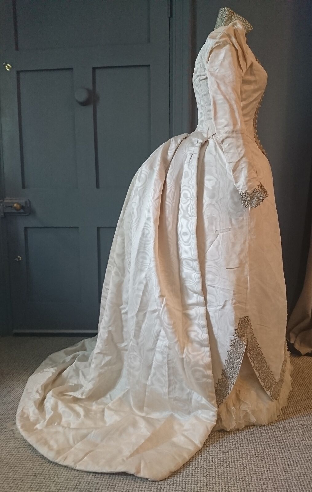 majestic 1880s watered silk bustle wedding dress with