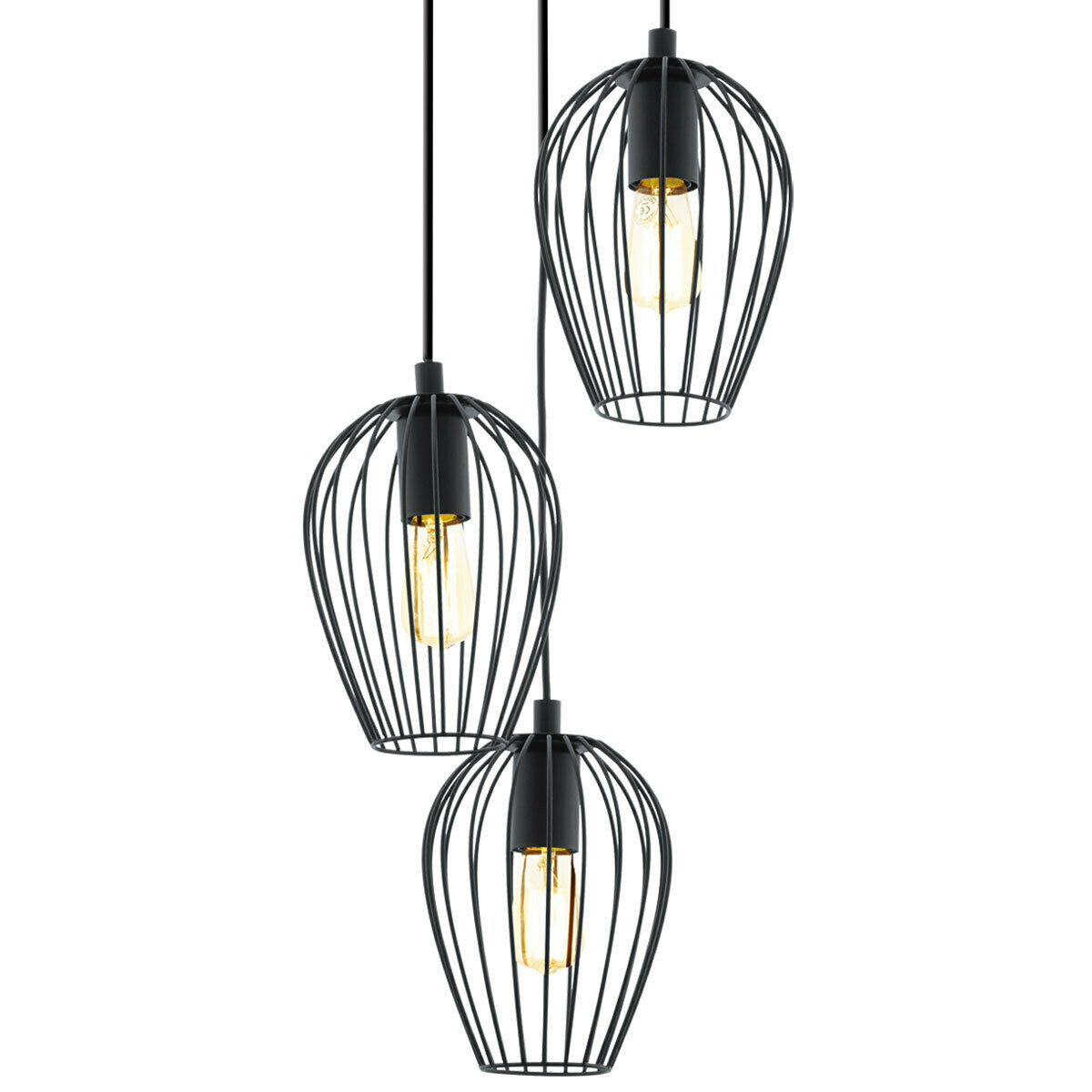 new eglo newtown vintage black wire cage 3 light round