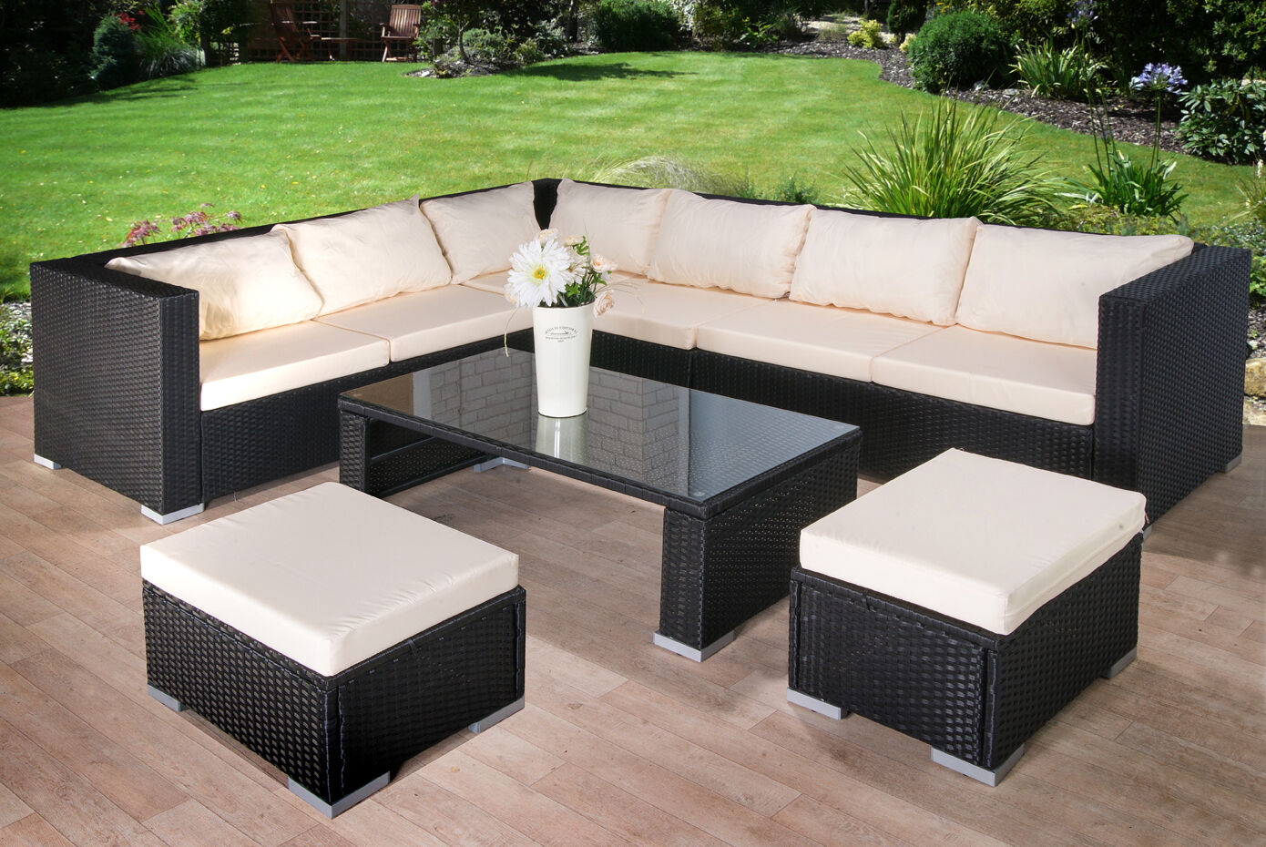Modern rattan garden furniture sofa set lounger 8 seater for Modern garden furniture