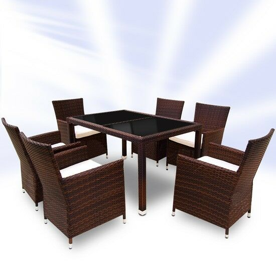 Rattan garden furniture dining table and 6 chairs dining for Table and 6 chairs uk