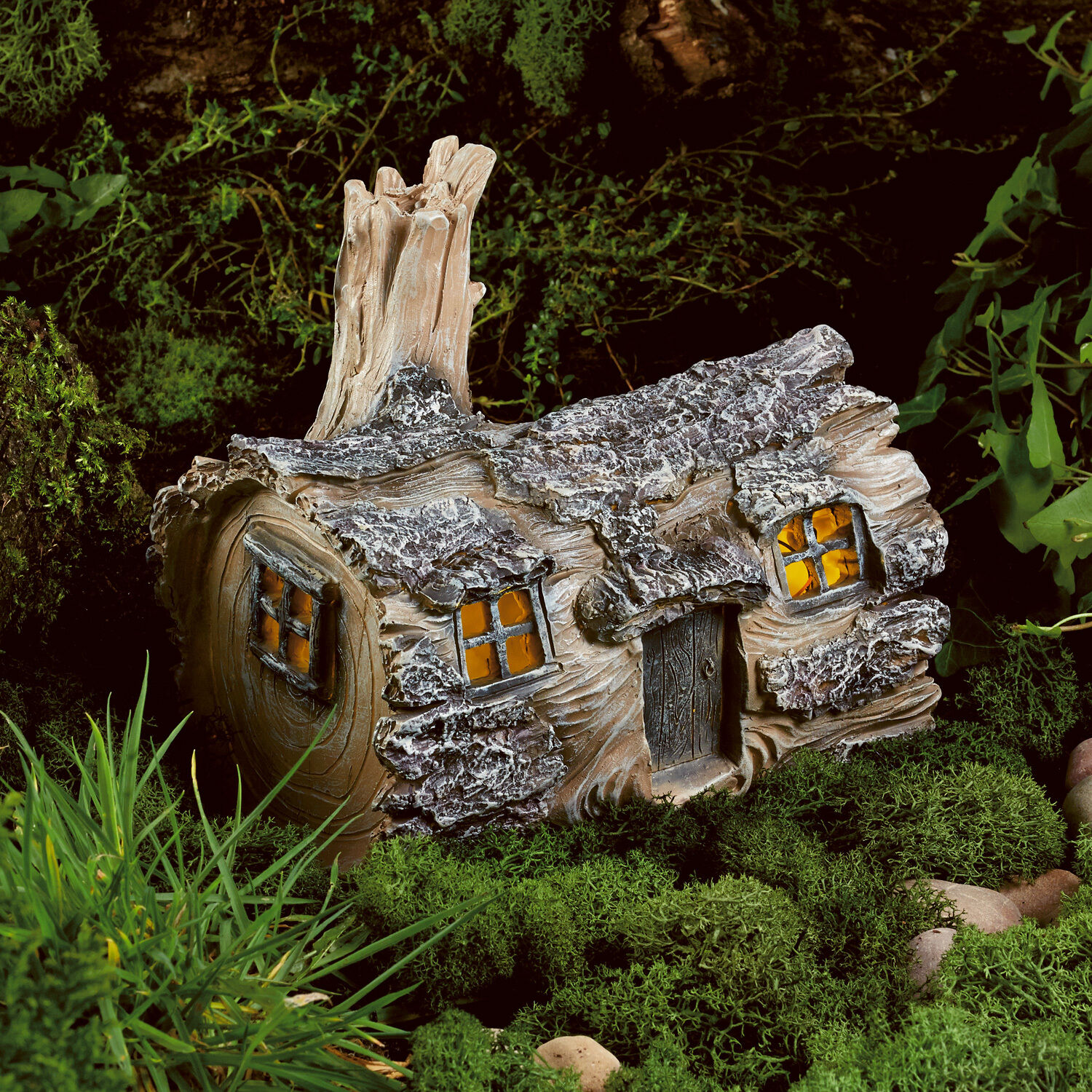 Solar powered garden fairy log house led outdoor light for Outside house ornaments