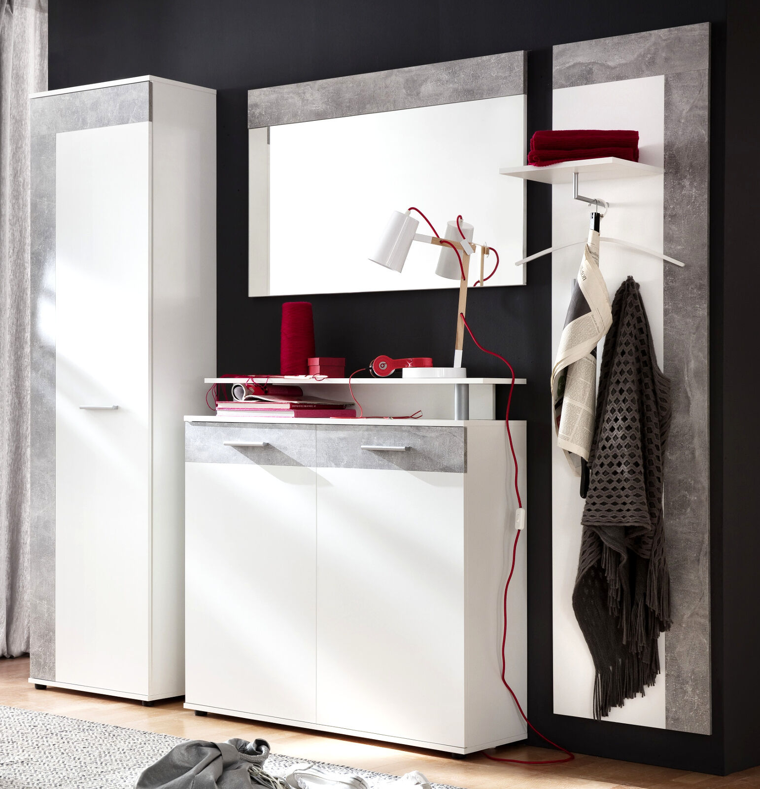 garderoben set flur garderobe wei grau beton stone 4 tlg mit schrank m bel jack eur 349 99. Black Bedroom Furniture Sets. Home Design Ideas
