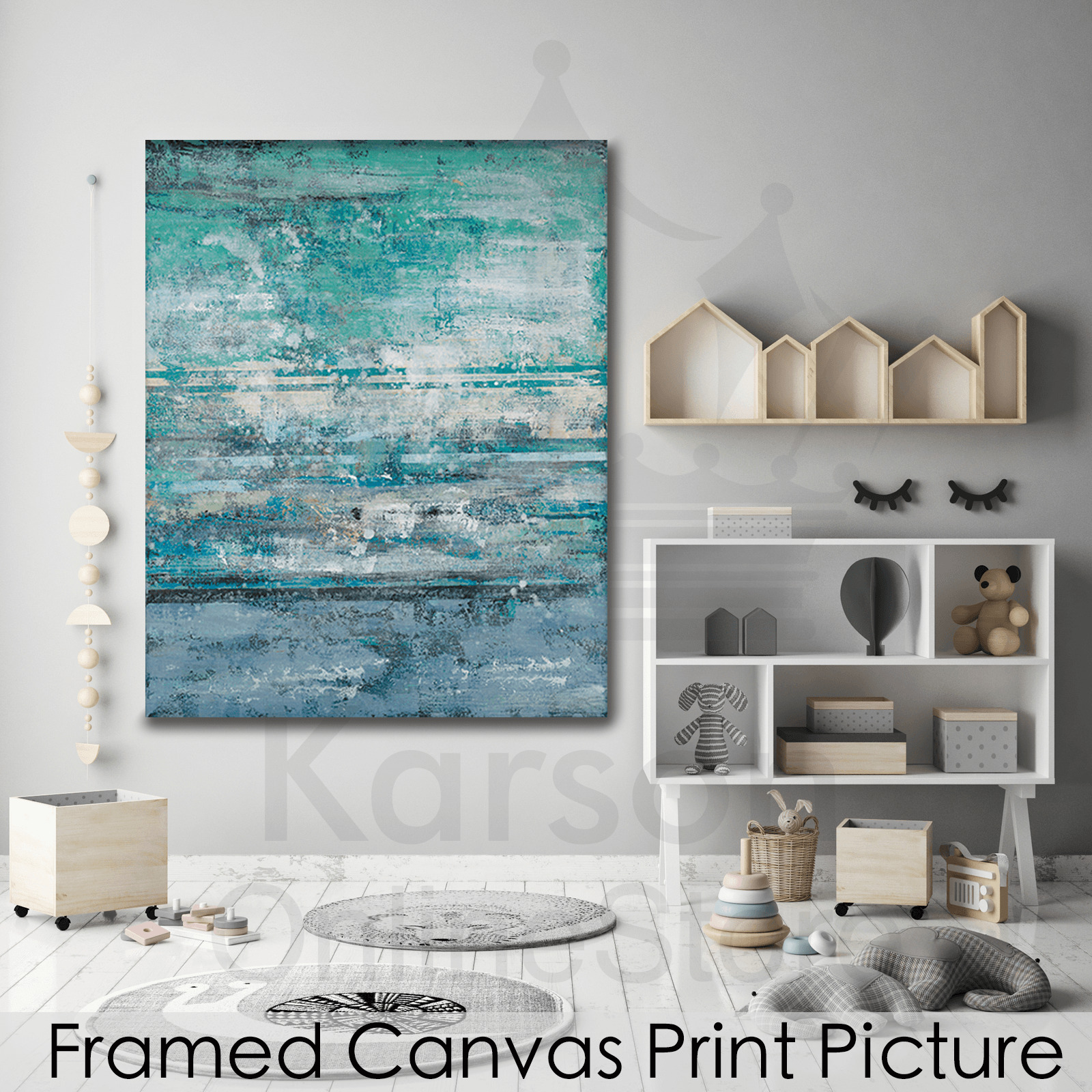 Blue Print Wall Decor : Blue abstract stretched canvas print picture hang wall