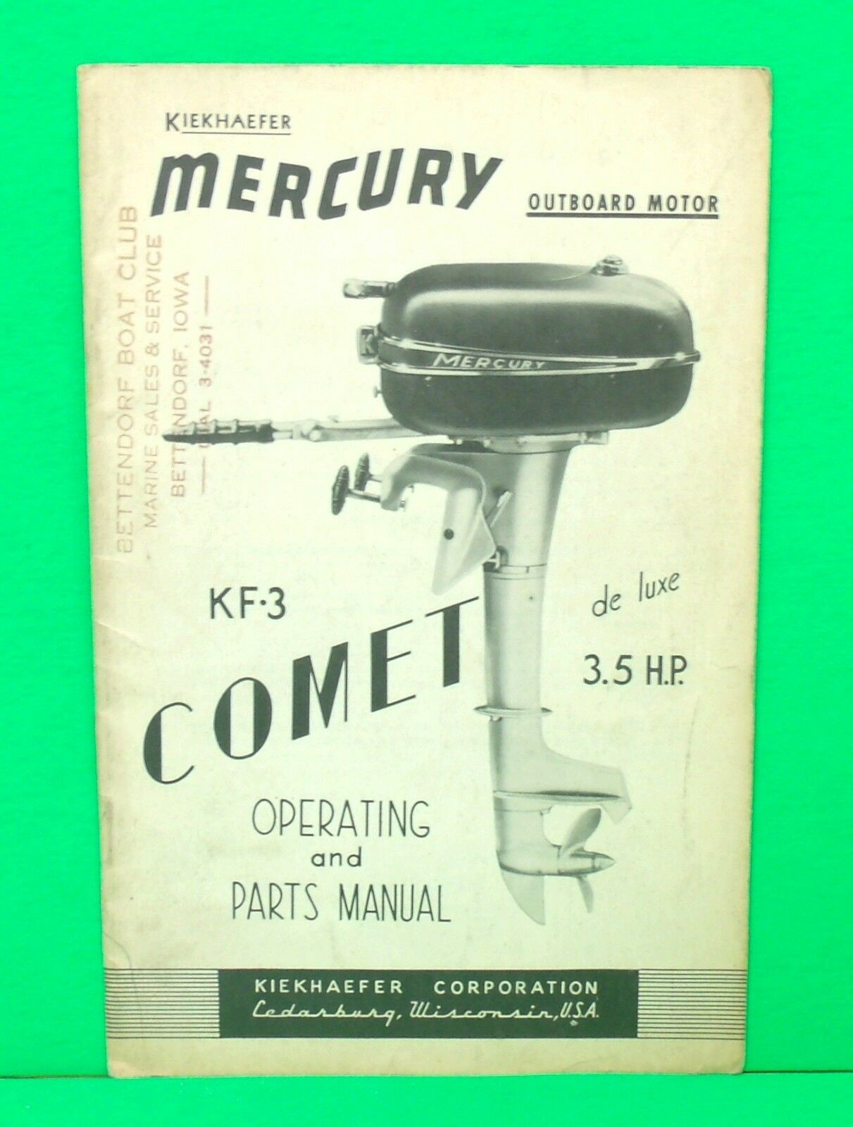 Original 1949 Kiekhaefer Mercury KF-3 COMET Operating & Parts / Owners  Manual 1 of 1Only 1 available ...