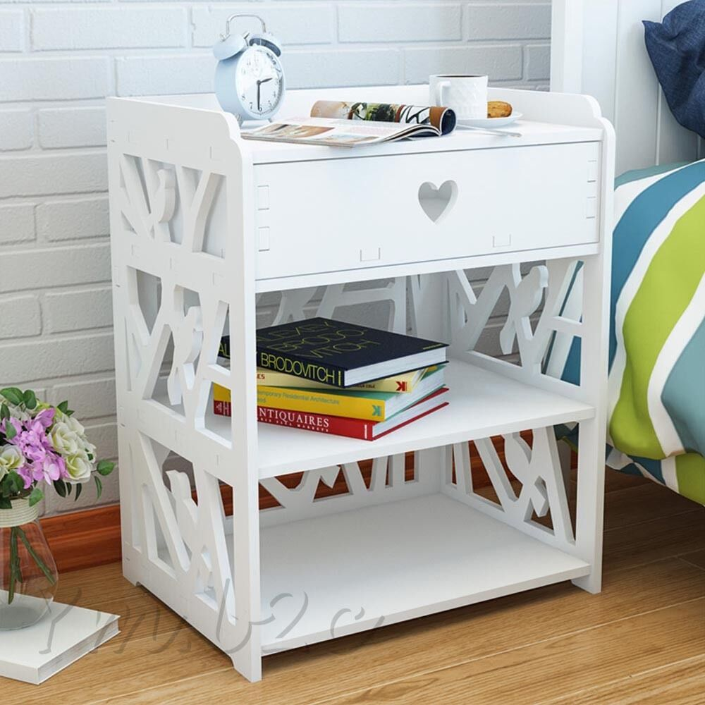 Bedside Corner Table Nightstand Drawer Bedroom Storage Cabinet Dampproof White