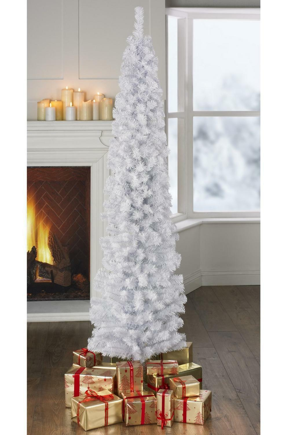 4ft White Pencil Slim Space Saver Christmas Tree No Lights
