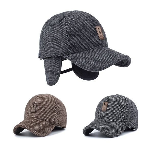Men s Winter Hat Baseball Hat with Ear Flaps Warm Cotton 1 of 7Only 5  available ... 66fc956b8fa