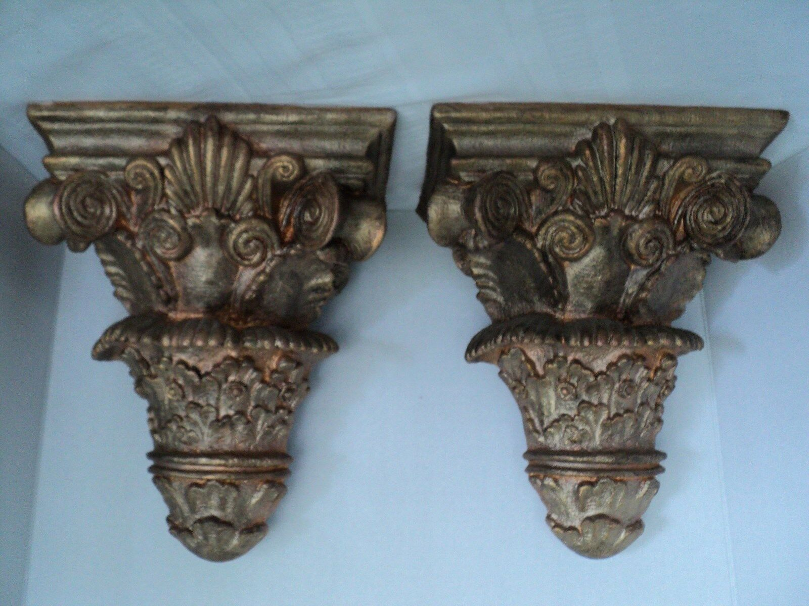 Regal Pair of Large Resin Wall Corbel Shelves Sconce Brackets - Gold/Bronze AUD 23.76 ...