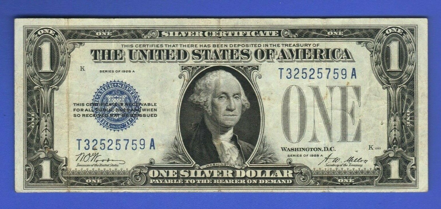 1 1928b Funnyback One Dollar Silver Certificate Bill Usa Bank Note