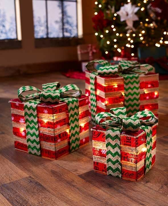 3 lighted gift boxes christmas decoration yard decor indoor outdoor xmas display 1 of 1free shipping see more