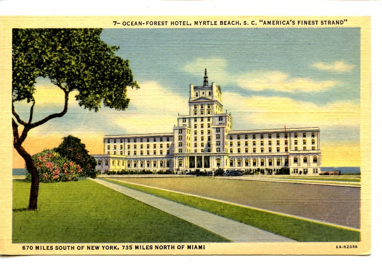 Ocean Forest Hotel Large Building Myrtle Beach South Carolina Vintage Postcard 1 Of 2only Available