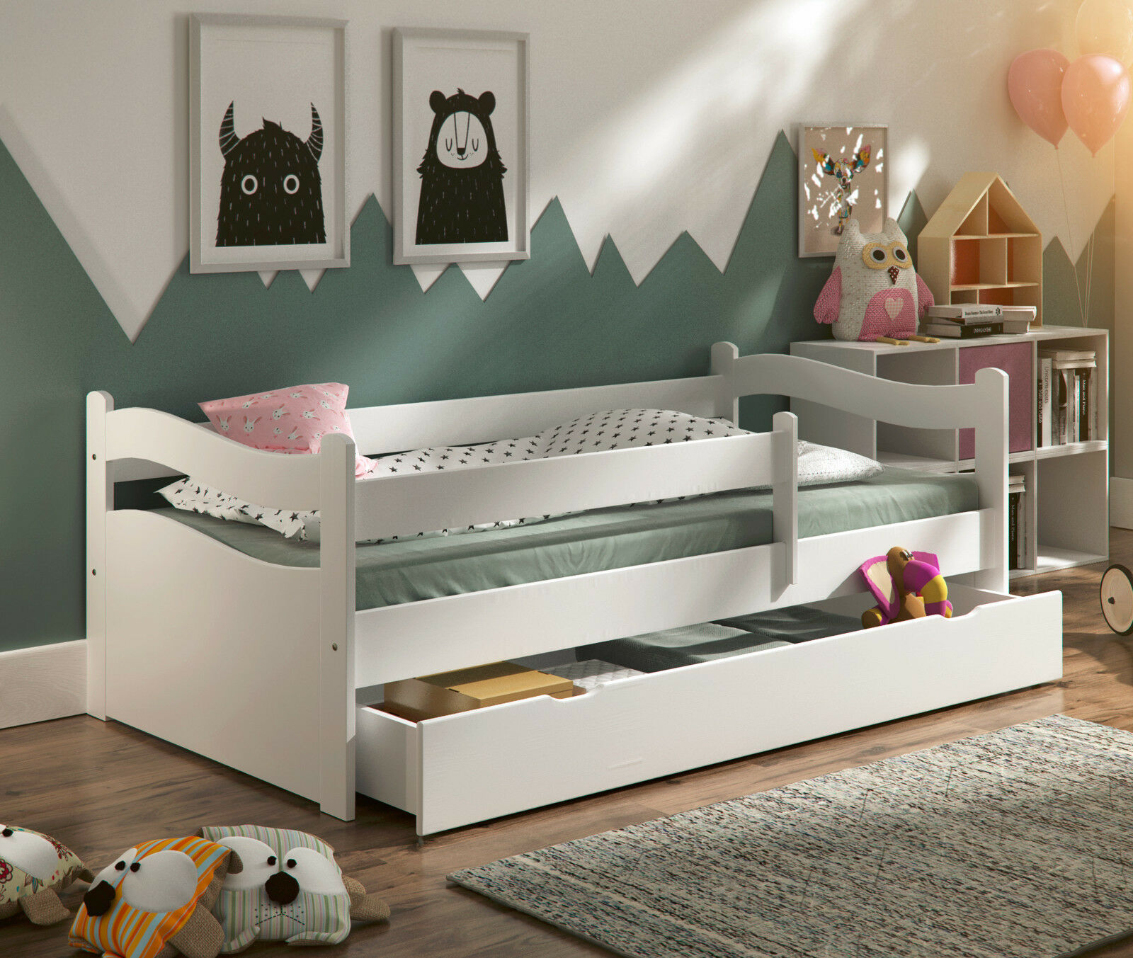 kinderbett abby neu massivholz matratze lattenrost schublade 160x80cm 4 farben eur 179 00. Black Bedroom Furniture Sets. Home Design Ideas