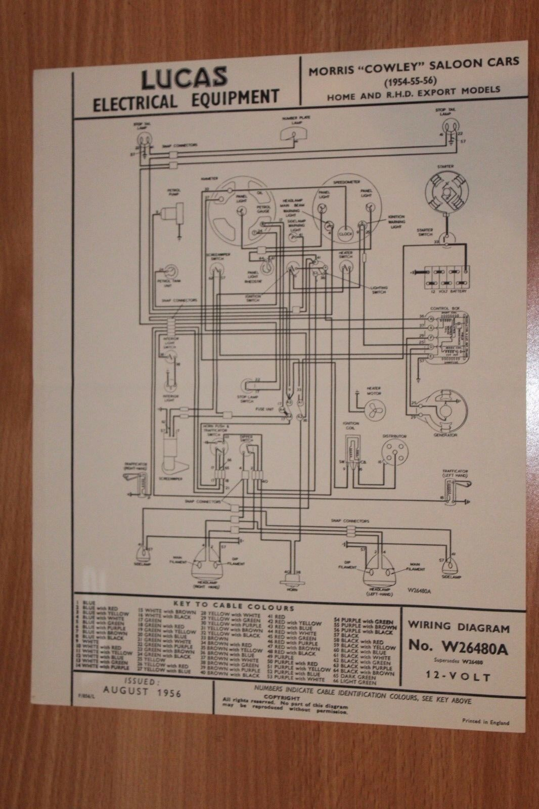 Morris Cowley Saloon Cars 1954 1955 1956 Lucas Wiring Diagram Td Cortina 1 Of 1only Available See More