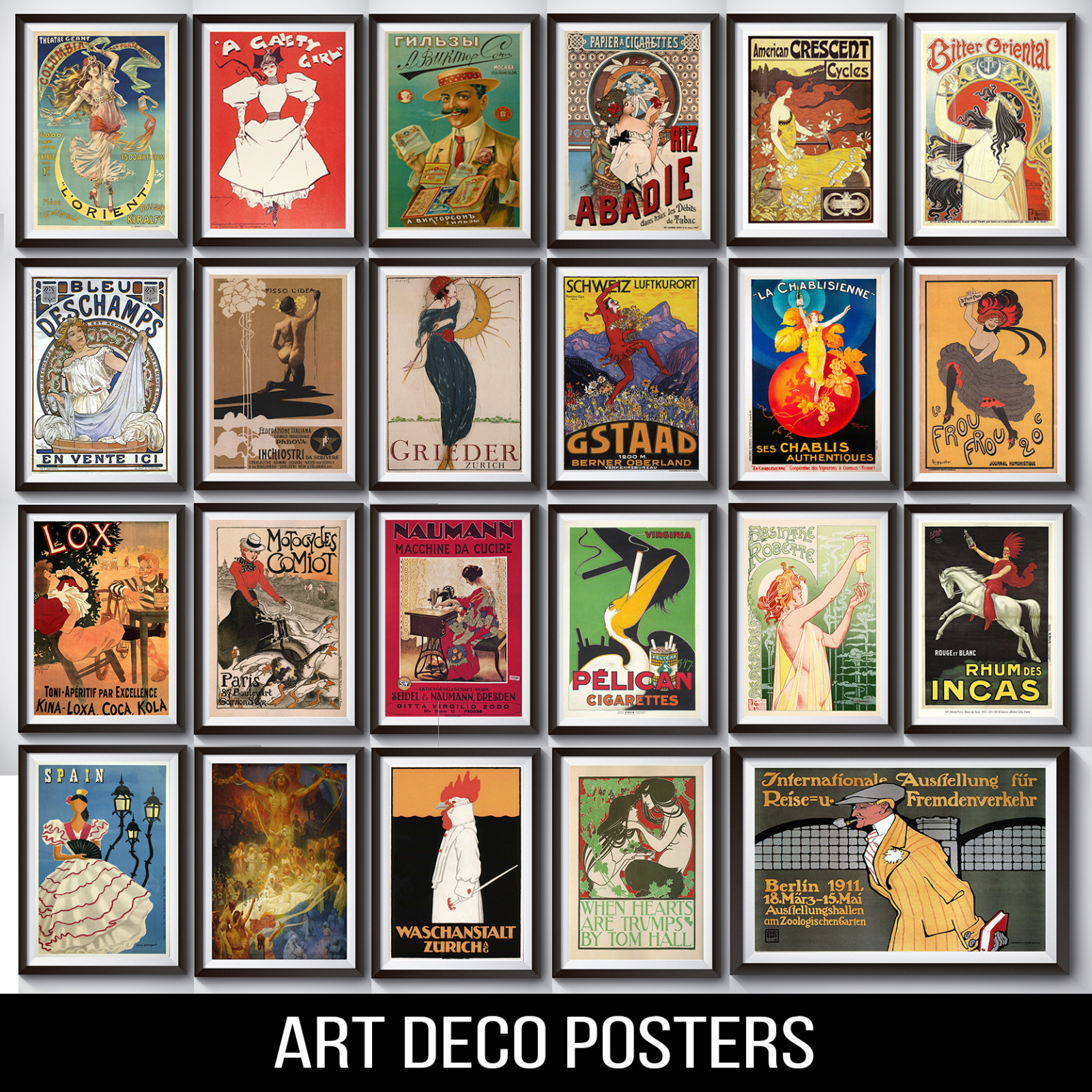 vintage retro art deco posters a4 a3 170gsm gloss 3. Black Bedroom Furniture Sets. Home Design Ideas