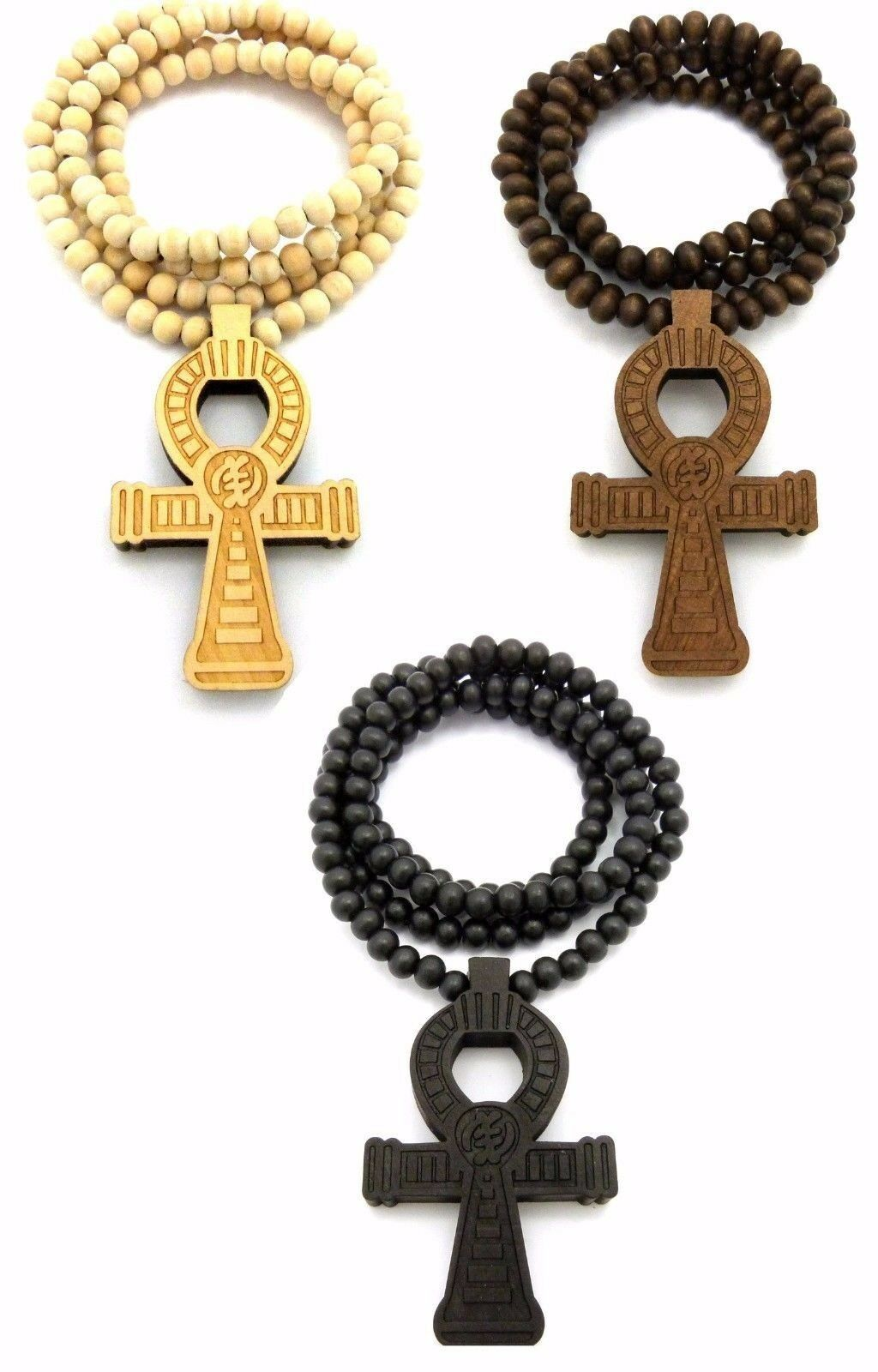 Wood Egyptian African Ankh Cross Symbol Wooden Chain Bead Necklace
