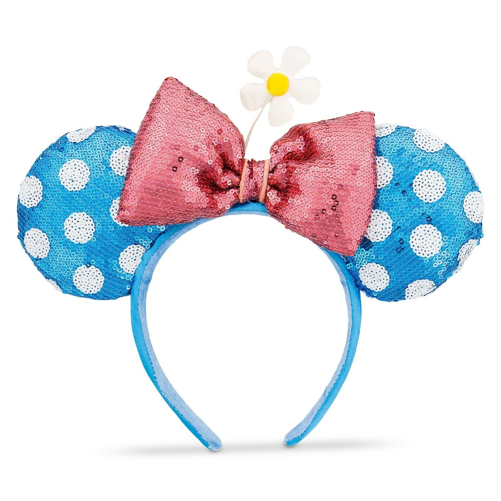 disney parks sequined minnie mouse ear headband blue w polka dot