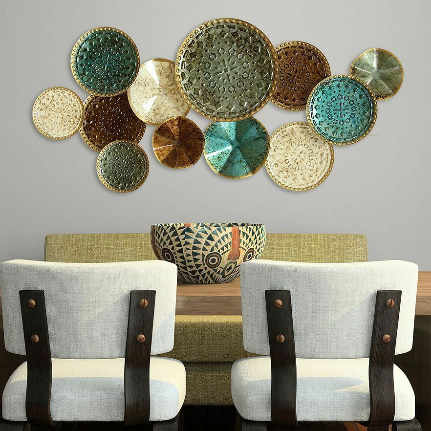 LARGE CONTEMPORARY MODERN Style Textured Metal Plates Wall Art ...