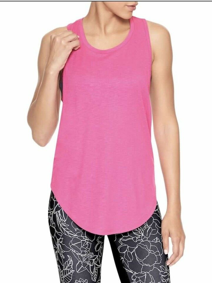 NEW Gap Fit Womens PINK Open Back Athletic Short Sleeve High Neck Shirt Top LG L