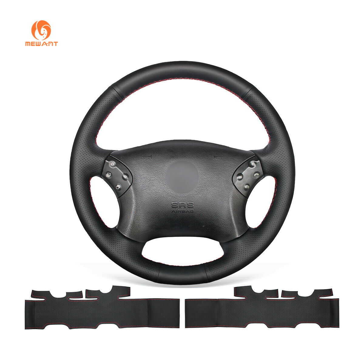 Diy black leather steering wheel cover for mercedes benz for Mercedes benz steering wheel cover
