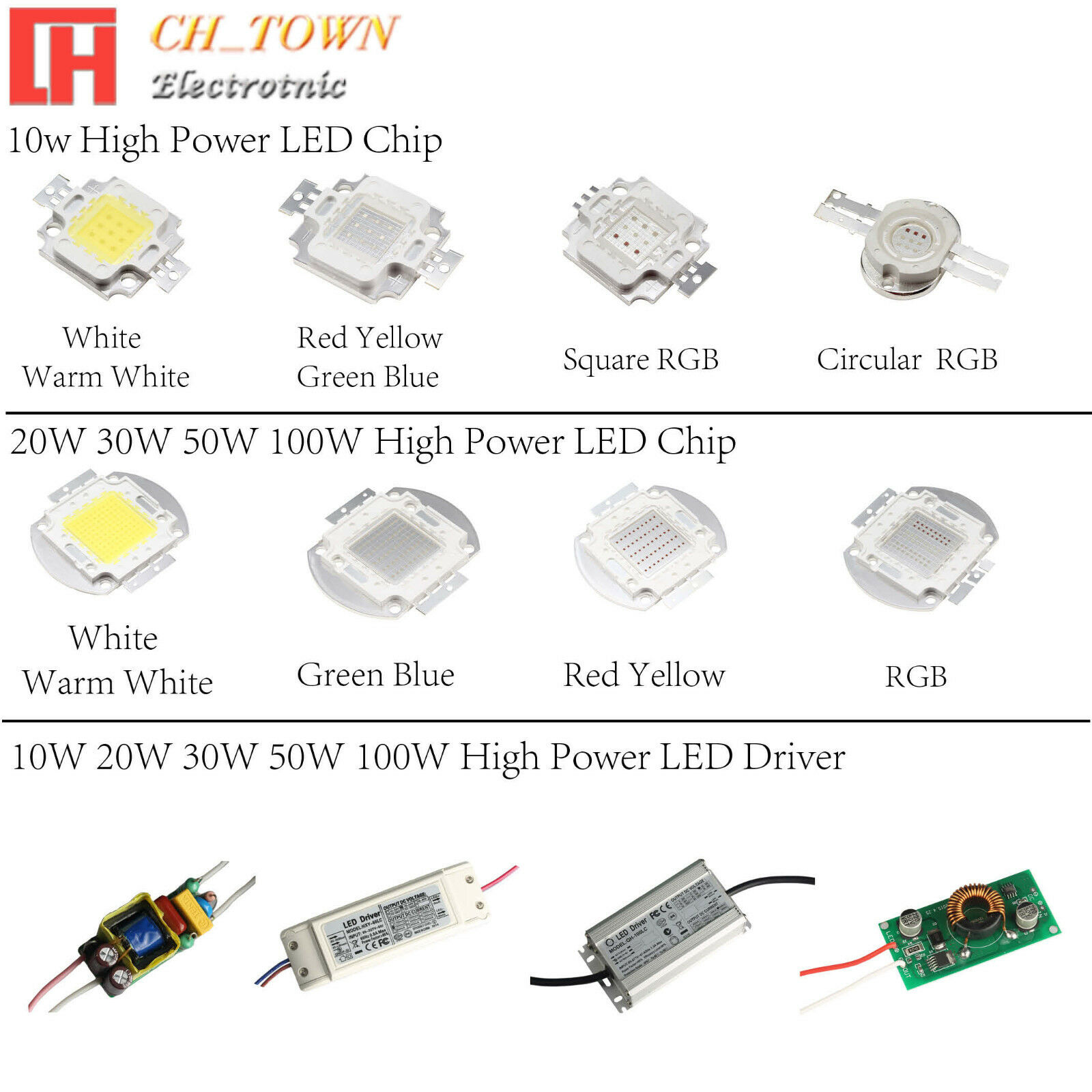 High Power 10w 20w 30w 50w 100w Led Smd Chip Cob Lamp Driver 4w 12v Fluorescent 1 Of 9free Shipping