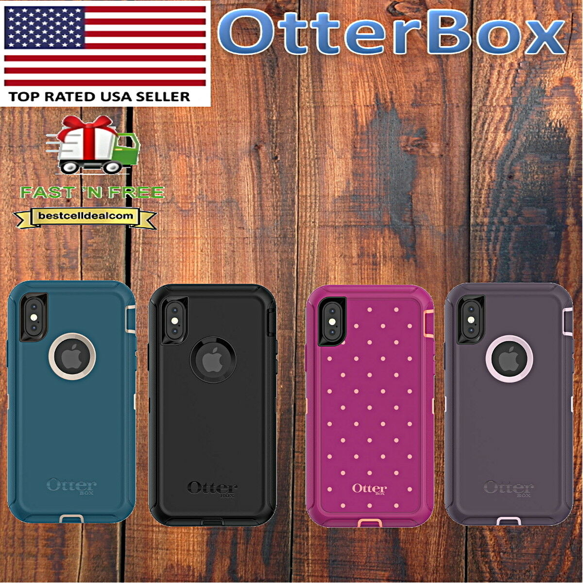 Otterbox Defender Case Cover For Apple Iphone X 10 Blue Black Pink Commuter Purple 1 Of 2free Shipping