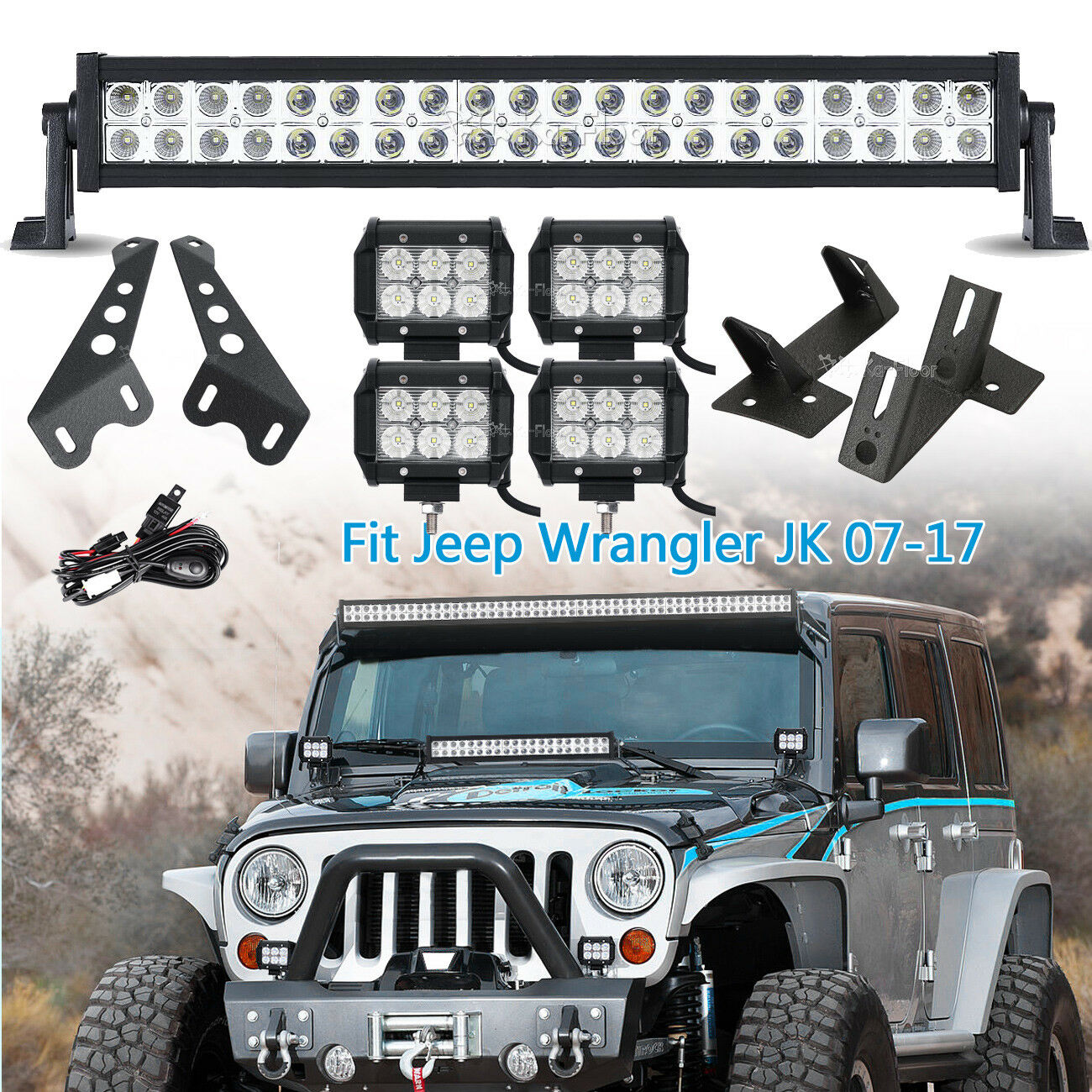 22inch 280w 4 18w Led Light Bar Mount Brackets Fits Jeep Wrangler Additionally 12v Wiring On Flood Hid Work Jk 1 Of 12free Shipping See More