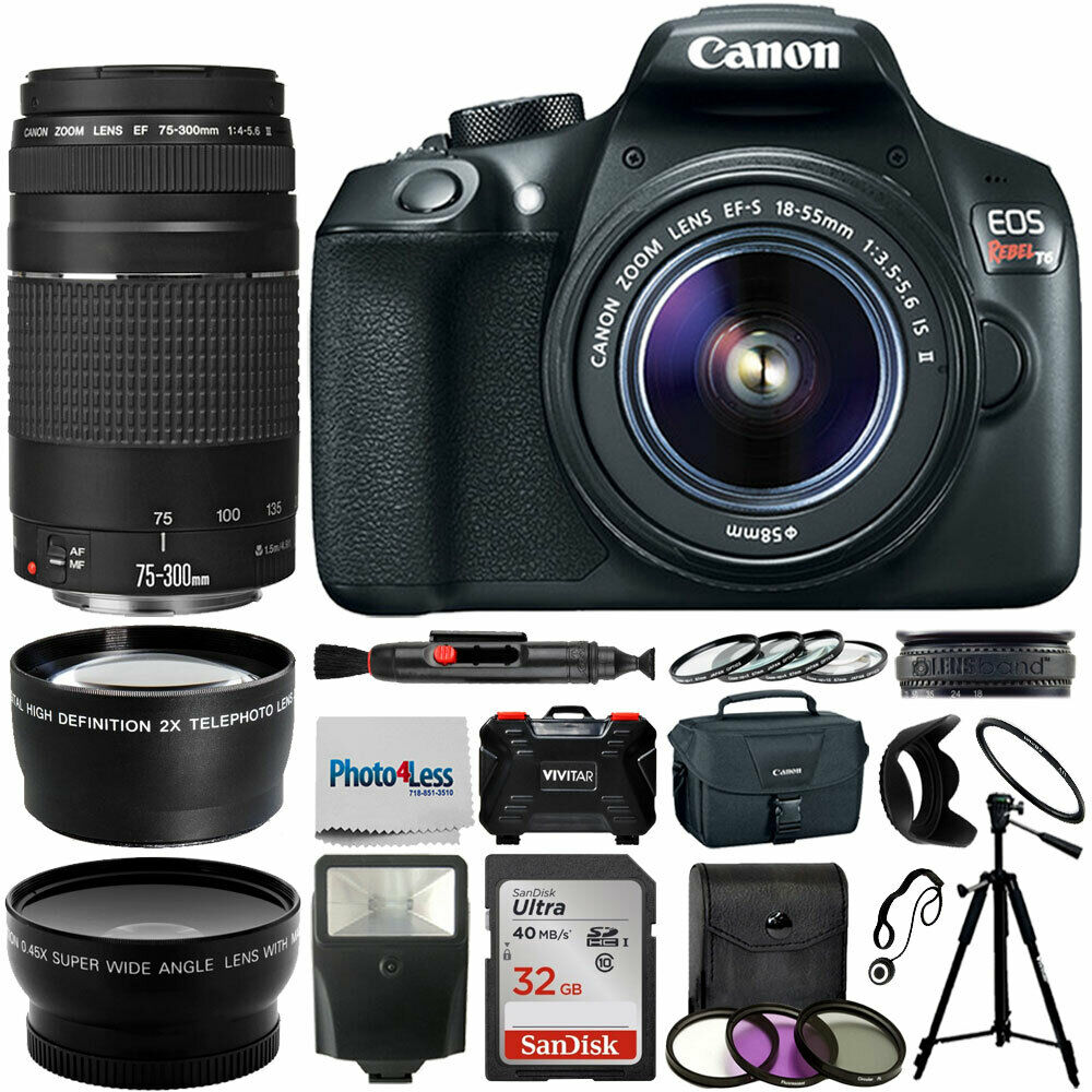 Canon Eos 1300d Rebel T6 Camera 18 55mm 75 300mm Value Kamera 55 Iii 1 Of 8only 3 Available