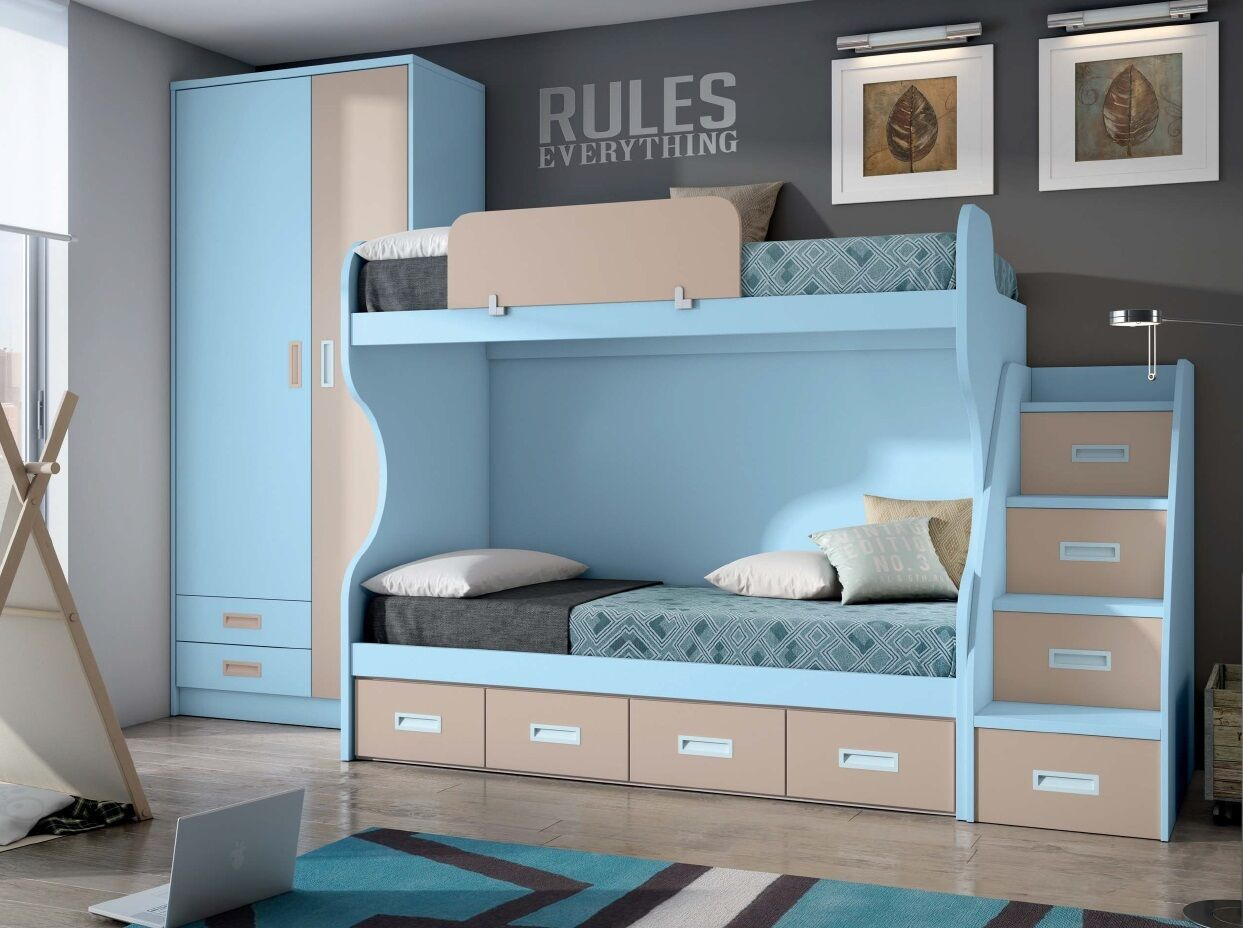 komplett kinderzimmer mit etagenbett stockbett kleiderschrank in 25 farben eur. Black Bedroom Furniture Sets. Home Design Ideas