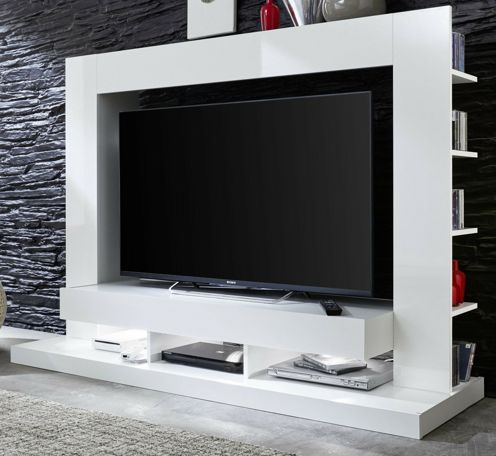 wall unit white gloss medienwand tv television wardrobe hifi-möbel