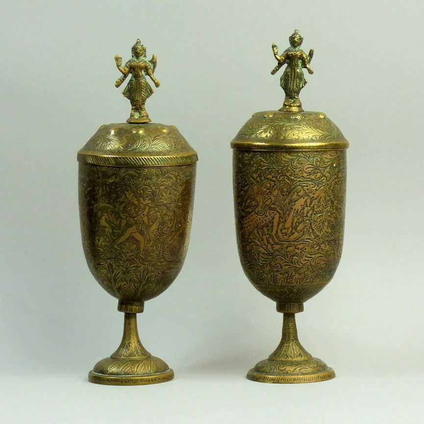 A Decorative Pair Of Antique Indian Brass Vases 19th Century