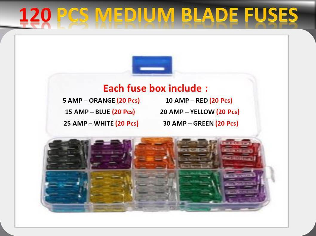 120pcs Bmw Auto Assorted Medium Blade Fuses Box 5 10 15 20 25 30 Automotive Fuse Uk 1 Of 7only Available