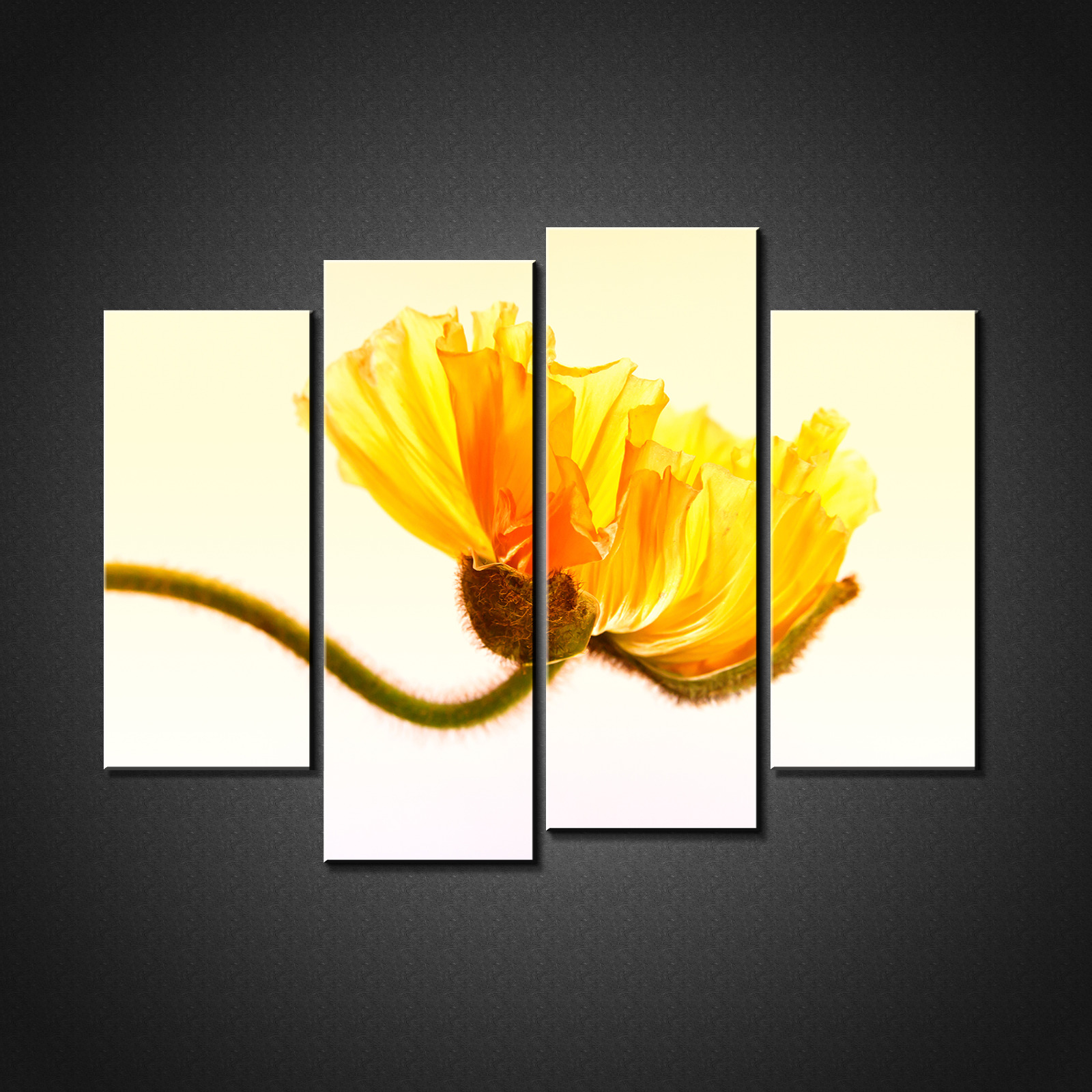 YELLOW POPPY FLORAL Canvas Print Picture Wall Art Home Decor Free ...