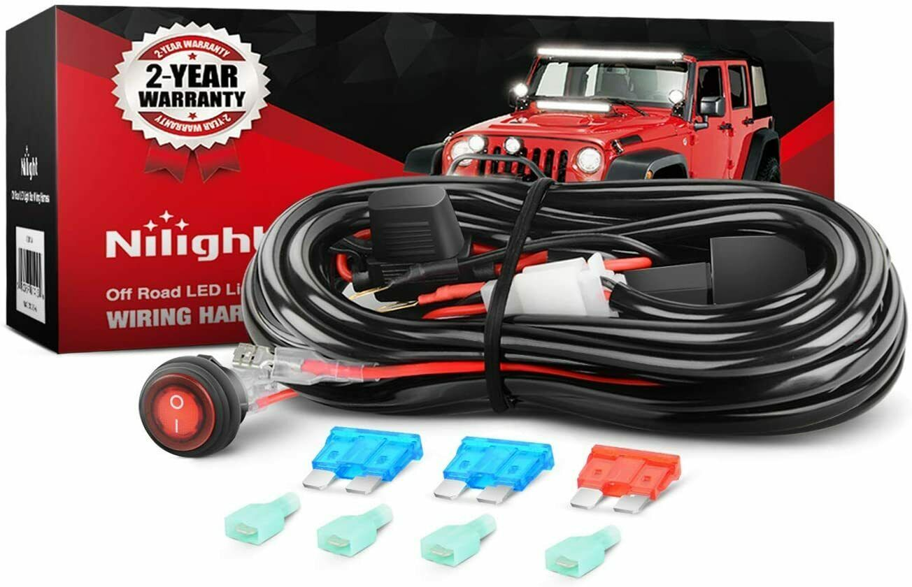 Nilight Off Road LED Light Bar Wiring Harness Kit ,2 years Warranty 1 of  8FREE Shipping ...