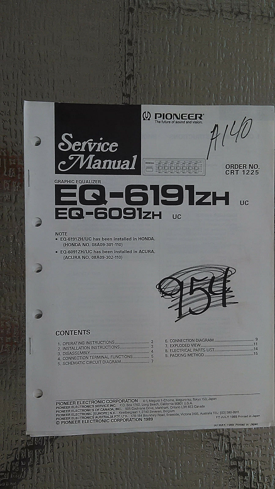Pioneer eq 619zh 6091zh service manual original repair book stereo 1 of 1only 1 available asfbconference2016 Choice Image