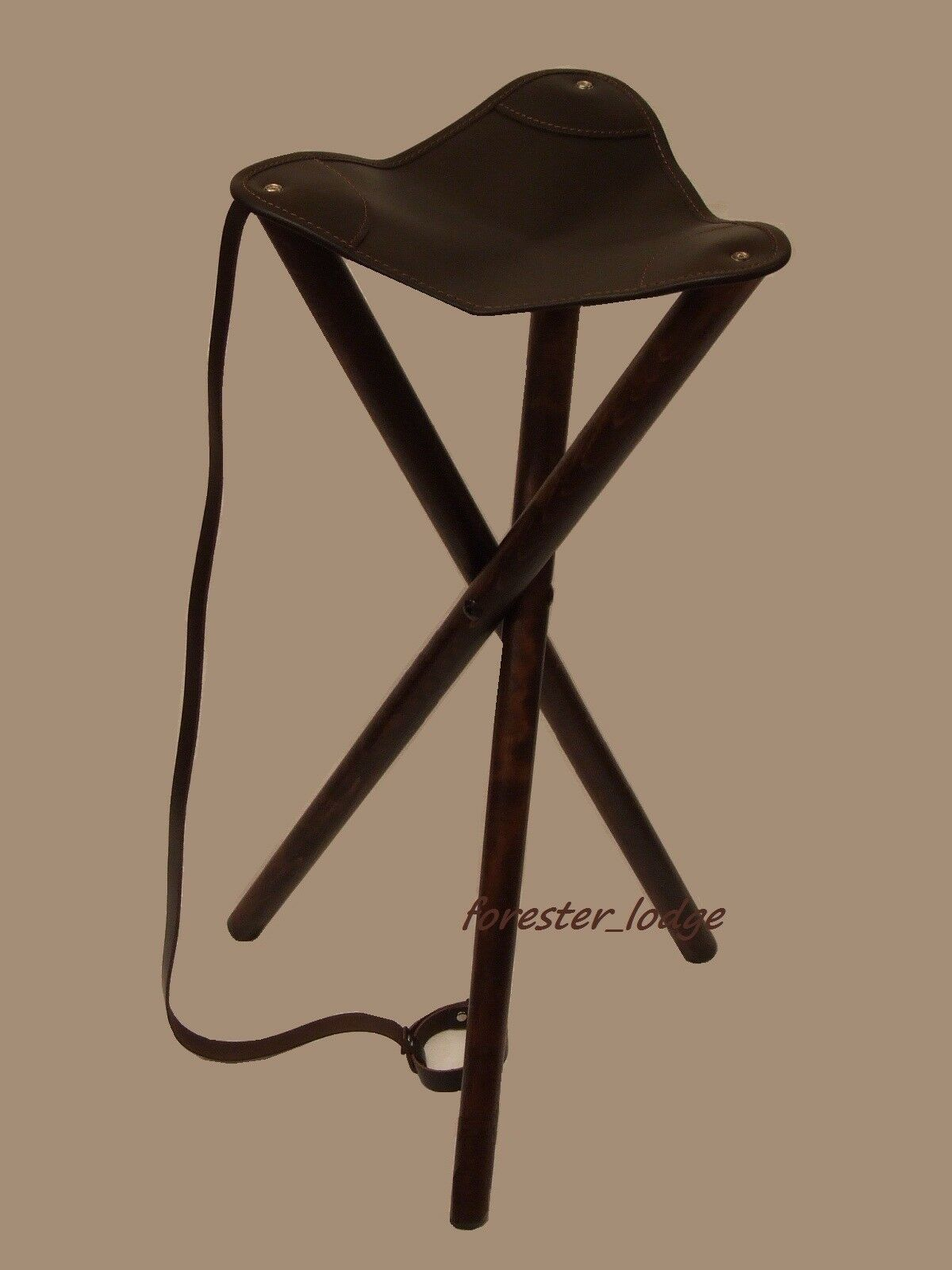 WOODEN FOLDING TRIPOD Stool Chair Leather Seat, camping, fishing ...