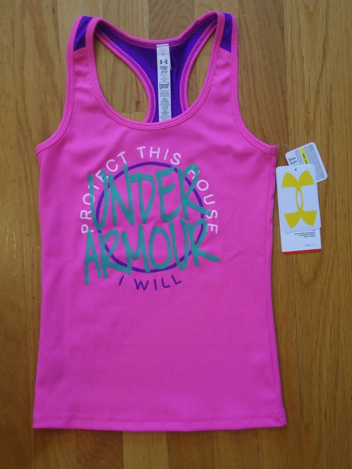 Nwt Under Armour Victory Tank Top Shirt Fitted Pink Girls Small Charged Cotton Tshirt Kaos Size S 1 Of 2free Shipping
