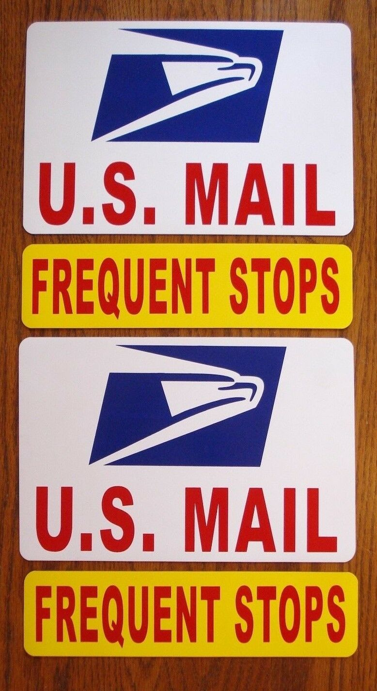 """8/"""" X 12/"""" PLUS 1 1 MAIL Magnetic Sign USPS 3/"""" X 12/"""" U.S FREQUENT STOPS"""