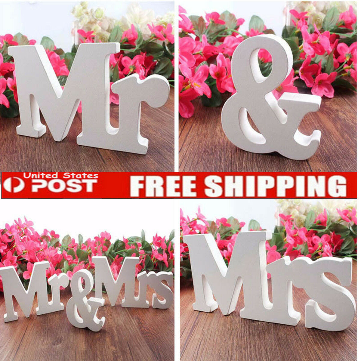 Usa Chic Mr Mrs Wedding Letters White Wooden Mr And Mrs Table Sign