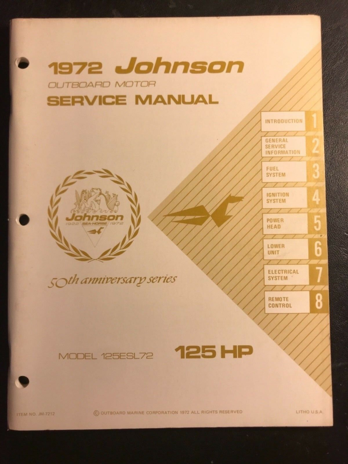 1972 Johnson Outboard Motor Service manual 125 HP Model No. 125ESL72 OMC 1  of 1Only 1 available ...