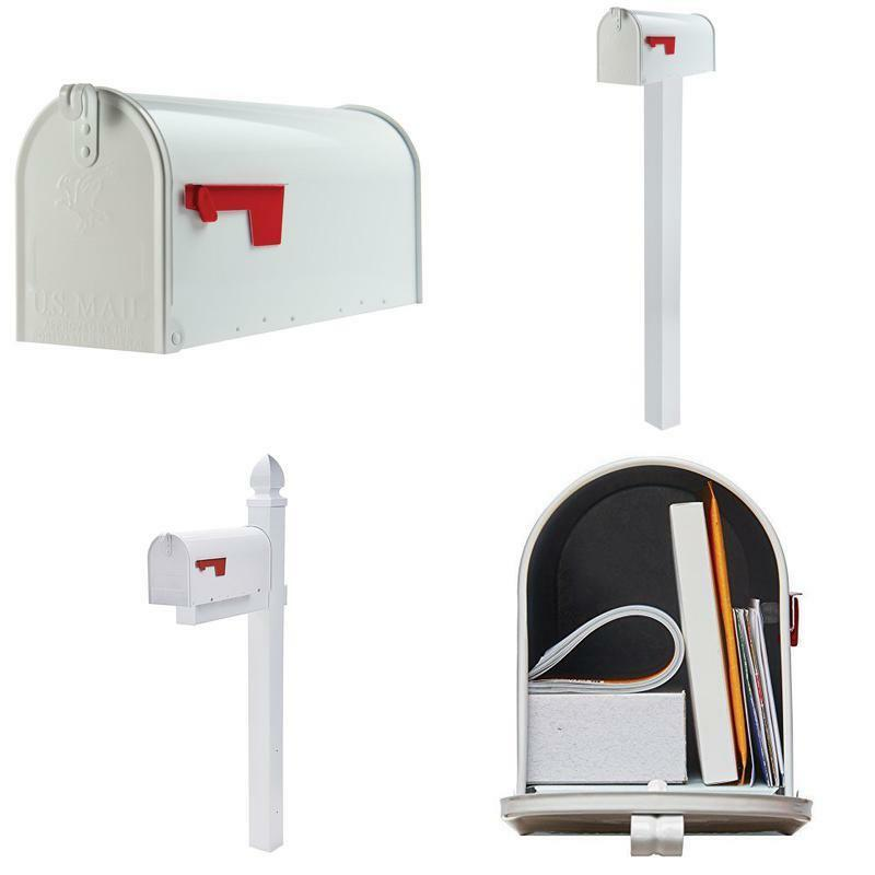 Extra Large Package Heavy Duty Post Mount Steel Mailbox White Galvanized Letters 1 Of 12only Available