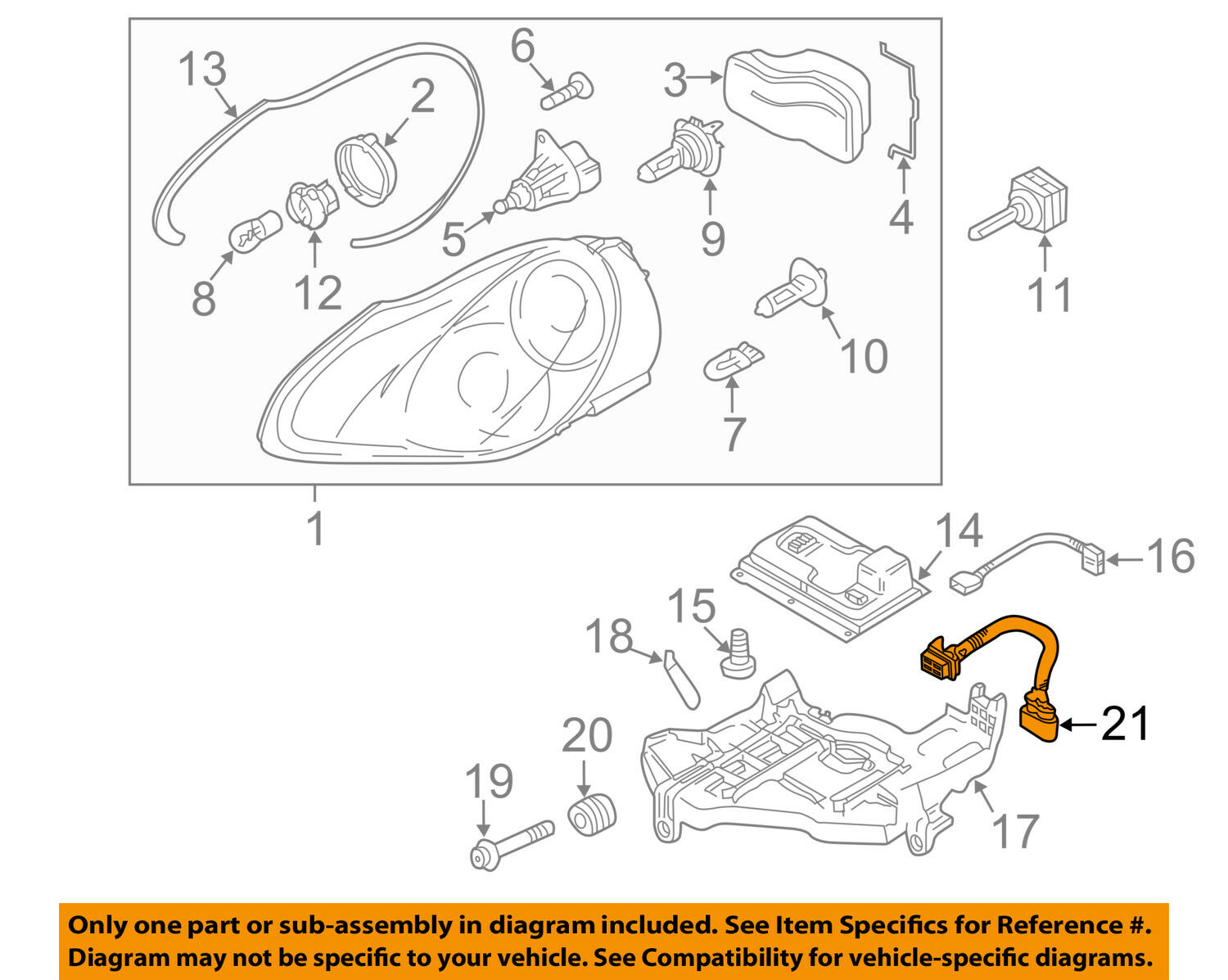 Porsche Oem 03 06 Cayenne Headlight Head Light Lamp Harness Engine Diagram 1 Of 2only Available