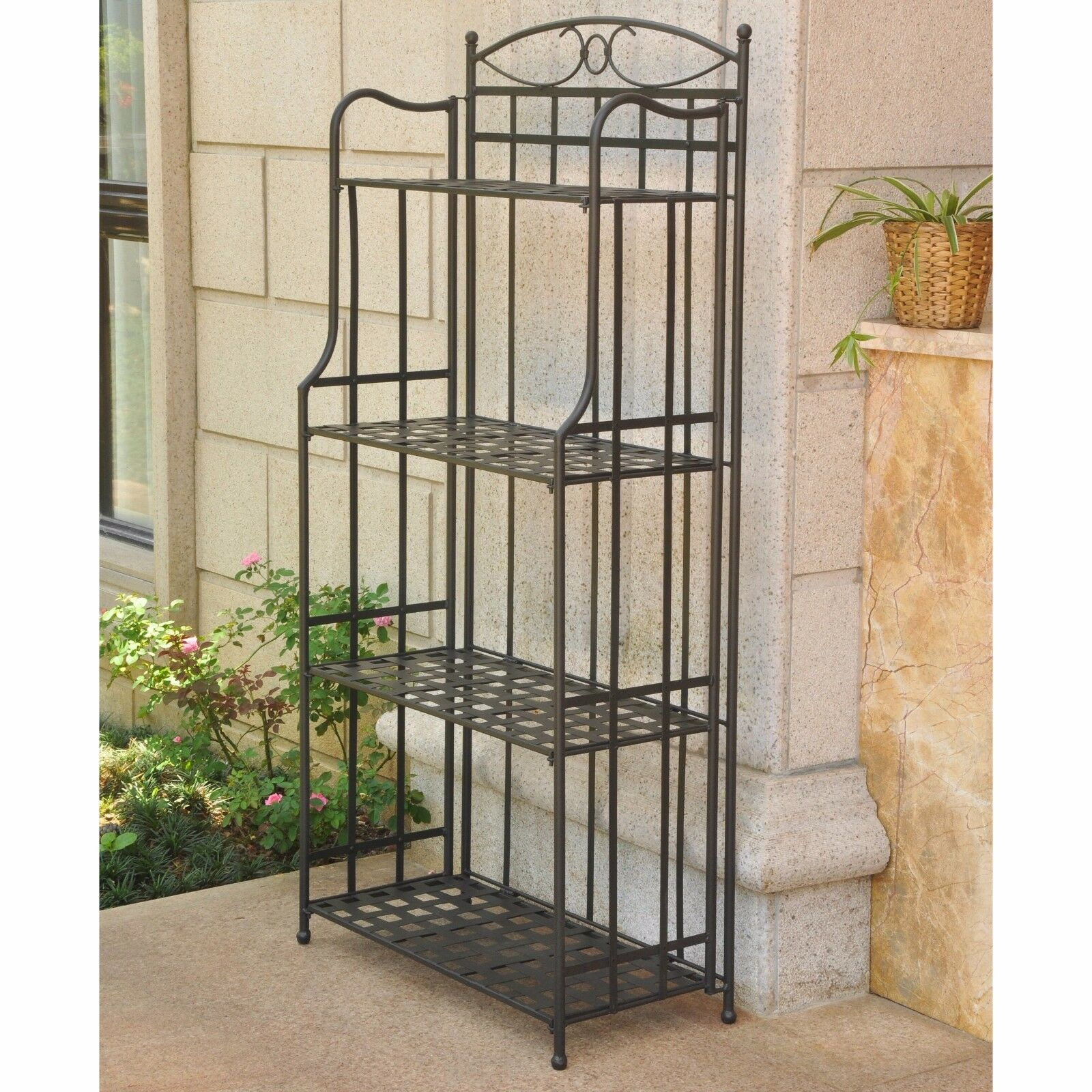 Outdoor Bakers Rack Plant Stand Patio Wrought Iron Shelves Garden Black 1  Of 2Only 1 Available ...