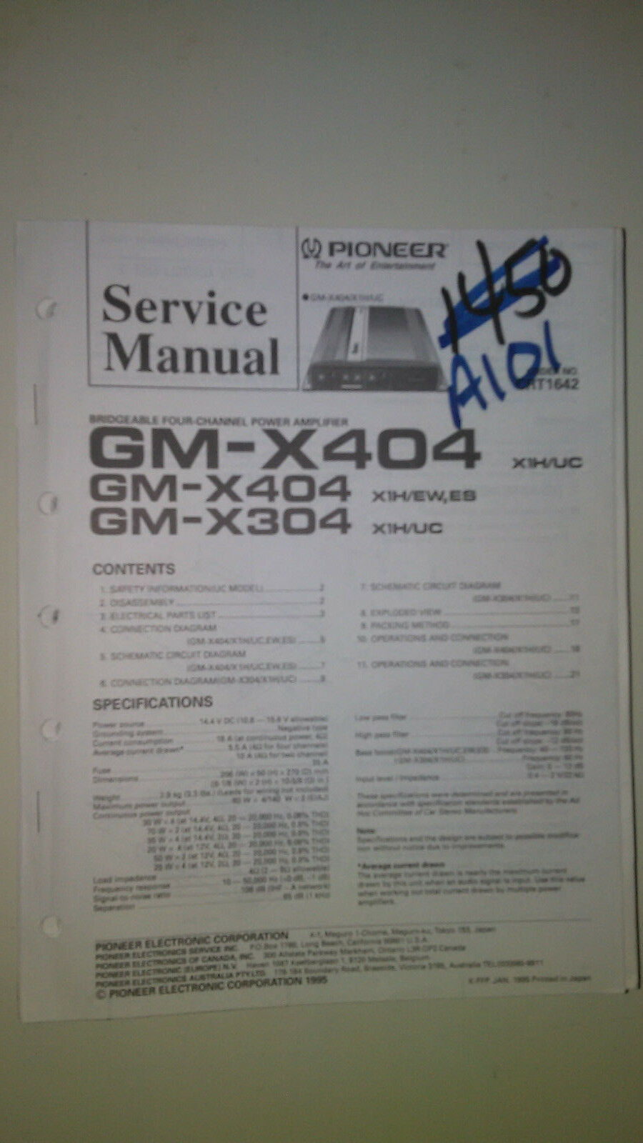 Pioneer gm-x404 x304 service manual original repair book stereo power amp 1  of 1FREE Shipping ...