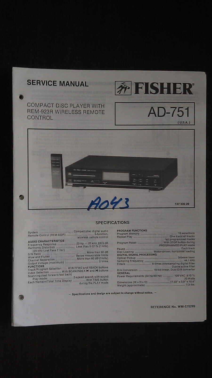 Fisher ad-751 service manual original repair book stereo cd player 1 of  1FREE Shipping ...