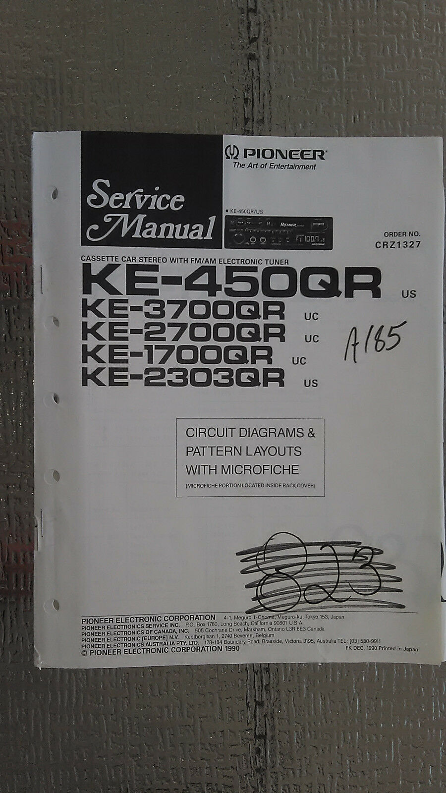 Pioneer Ke 450 370 2700 1700 2303 Qr Service Manual Original Repair Car Stereo Wireing Diagram For A 3700 1 Of 1only Available