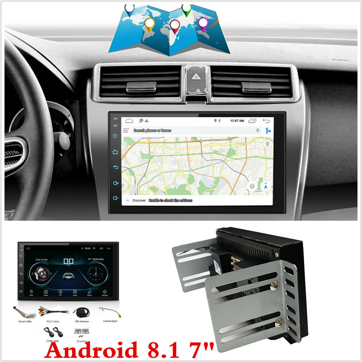 7 double 2 din android 8 1 car stereo radio gps sat nav. Black Bedroom Furniture Sets. Home Design Ideas