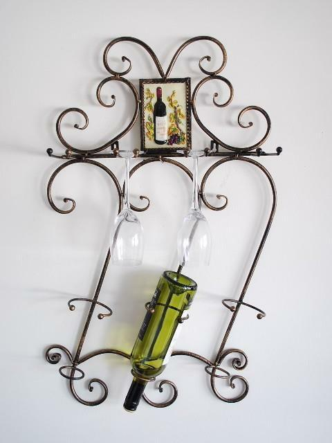 Wrought Iron French Style 3 Bottle Wall Wine Rack
