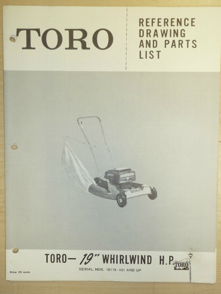 Toro Mower Operating Parts Manual Model Whirlwind Hp 19 Sn 18119 Diagram And List For Craftsman Walkbehindlawnmower 1 Of 1only 2 Available