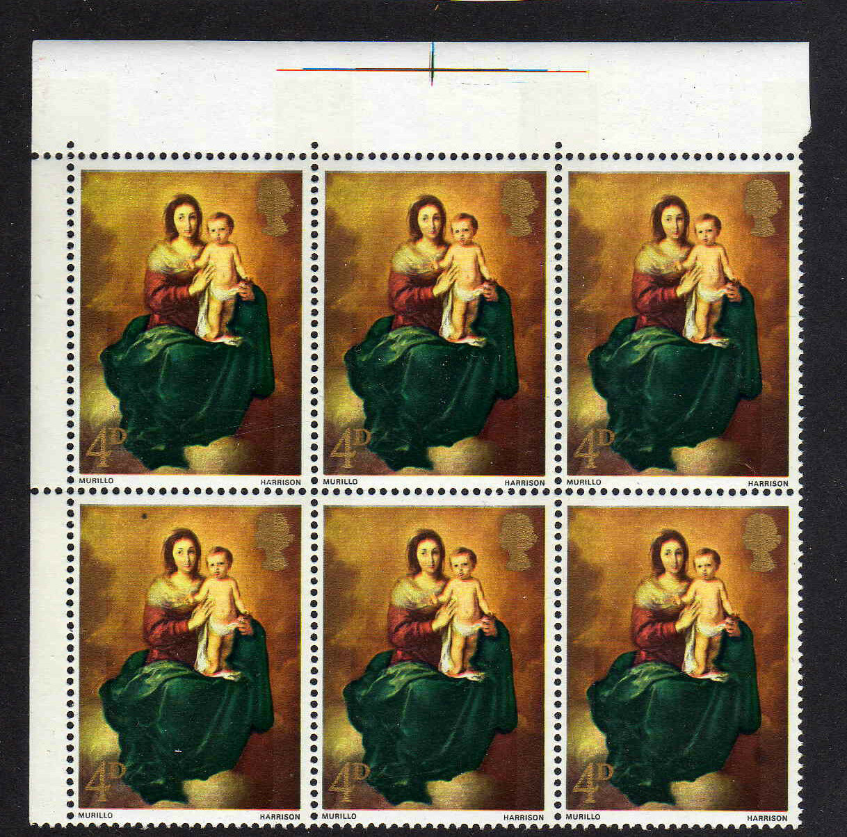 GREAT BRITAIN 1967 4d XMAS WITH BROWN FLAW W128f MNH.